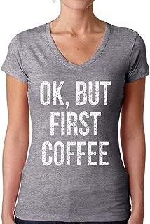 Awkward Styles Women's Ok, But First Coffee V-Neck T-Shirt White Hate Mondays Shirt