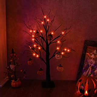 Vanthylit 2FT 24LED Black Spooky Tree Glittered with Orange Lights and Pumpkin Decorations Battery Powered Tabletop Bonsai Tree Decoration for Halloween and Indoor