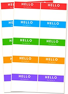 250 Pack, Hello My Name is, Labels Stickers, 5 Colors - 3