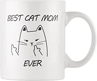 RKC Gifts Best Cat Mom Ever Cat Middle Finger Funny Coffee Mug 11oz – Quality Birthday Gift for Women – Best Novelty Office Cup - Top Gift Idea for Her, Coffee/Tea/Wine/Cat Lovers & Owners