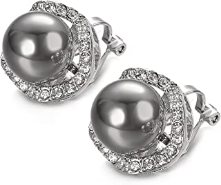 VOGEM Grey Pearl Earrings Platinum Plated CZ Halo Clip Earrings For Women Cocktail Prom Jewellery