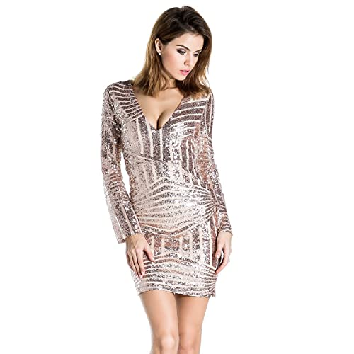 5160ae8f2d2 Miss ord Women s V Neck Long Sleeve Sequined Cocktail Mini Dress