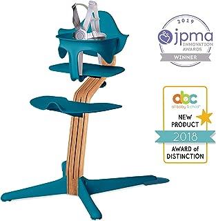 Nomi High Chair, Ocean – Premium Natural Oak Wood, Modern Scandinavian Design with a Strong Wooden Stem, Baby through Teenager and Beyond with Seamless Adjustability, Award Winning Highchair