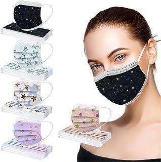 YpingLonk 50 unid Unisex Adulto Cara Protector Mujeres Universal 3 Capa Moda Estrella Digital Impreso Lindo elásticoLoop B...
