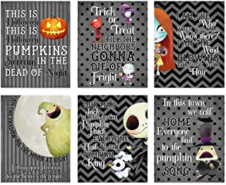 Nightmare Before Christmas Themed Character Wall Art Decor (Set of Six) Halloween Song Prints