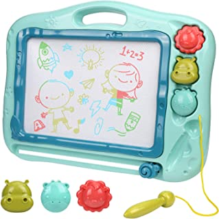Ardoise Magique Enfants, Planche à Dessin Magnétique pour Enfant Tablette de Croquis Effaçable Jouets créatifs avec 3 Timb...