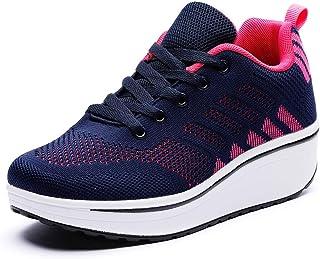DADAWEN Women's Platform Wedge Tennis Walking Shoes Breathable Lightweight Casual Comfort Fashion Sneaker (Size:US5-US12)