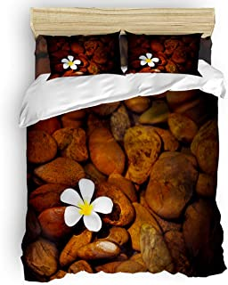 Yogaly Duvet Cover Set 4 Pcs Bedding Set Full Size for Adults/Teens/Kids/Baby Brook Cobblestone Plumeria Ultra-Soft Comforter Cover with Zipper Closure
