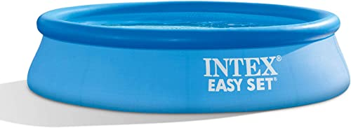 Intex 28106EH 8 ft X 24 Inch Easy Set Inflatable Puncture Resistant Circular Above Ground Portable Outdoor Family Swimming Pool, Blue