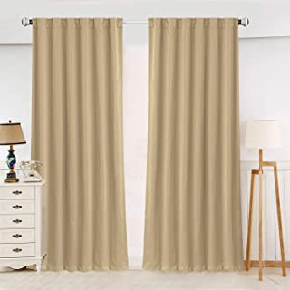 "ZHUFUREN Beige Blackout Window Curtain Panel Pairs 84"" for Bed Room Darkening and Thermal Insulation Soft Silky Window Treatment Drapes Rod Pocket with Backtabs, 2 Tie Backs (2 Pk, 52x84 Inch, Beige)"