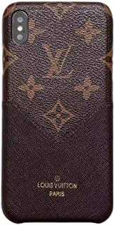 Phone case for iPhone Xs MAX Brown Fashionable Luxurious and Elegant high-Grade Leather Material Monogram Vintage Style Cover Case for Apple iPhone Xs Max (Beige)