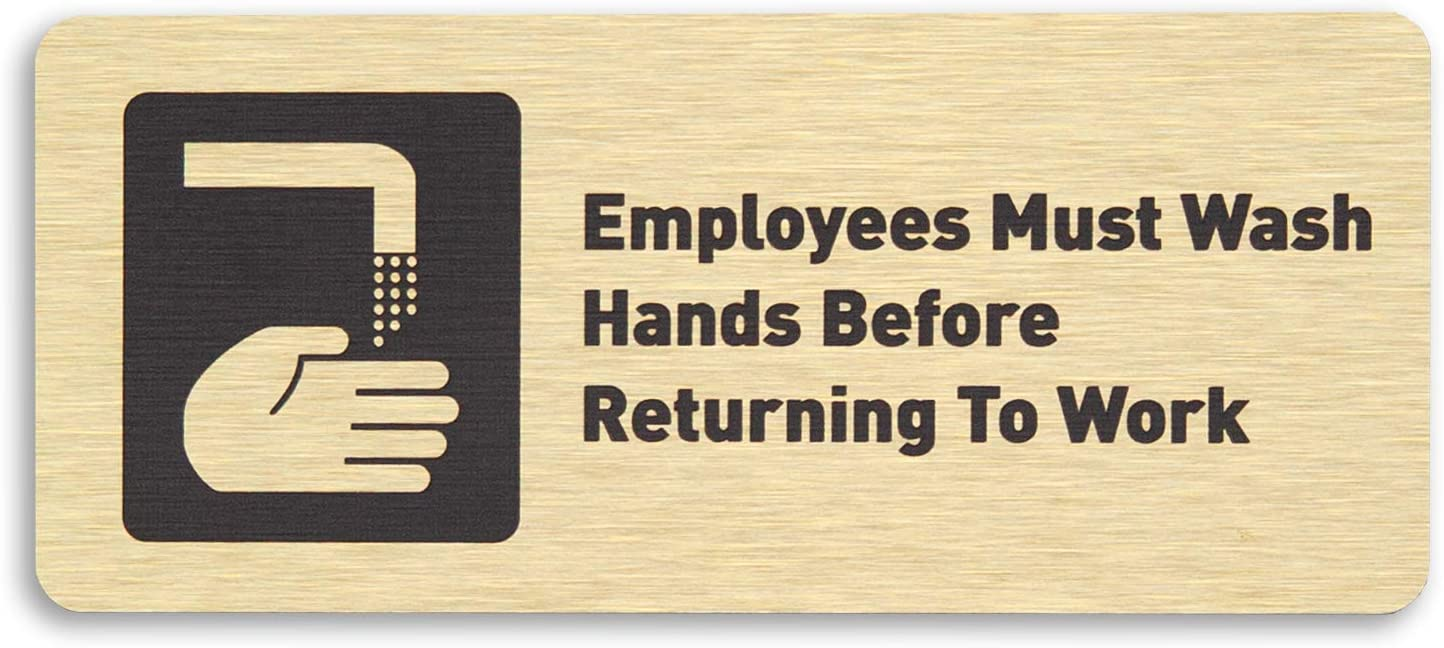 NEW Employees Must Wash Hands Restroom Sign Gold 7