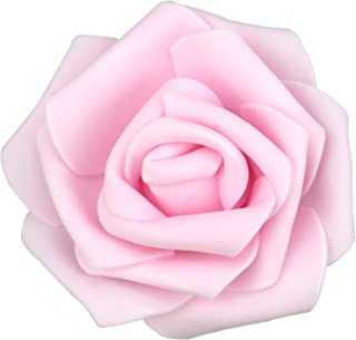 Lightingsky 7cm DIY Real Touch 3D Artificial Foam Rose Head Without Stem for Wedding Party Home Decoration (100pcs, Pink)