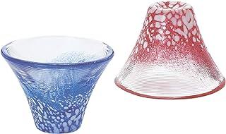 東洋佐々木ガラス 冷酒グラス ペア 招福杯 富士山 冷酒杯揃え 日本製 青&赤 35ml 2点入り G635-T72
