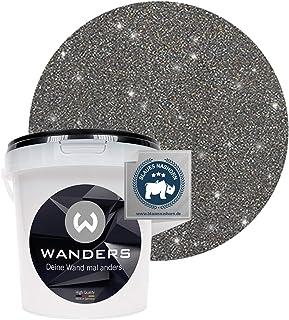 Wanders24 Pintura de brillo aspecto brillante (1 litro, Negro plata) pintura de pared de brillo, pintura de efecto, pintura de estructura