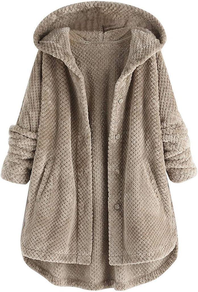 aihihe Women Faux Fur Coats Jackets Plus Size Button Down Long Sleeve Sweater Cardigan Sweatshirt Oversized Hoodie