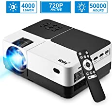 Projector, 1080P and 176'' Display Outdoor Video Projector Supported, 4000Lumen..