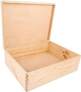 Creative Deco XL Boîte de Rangement en Bois Grande   40 x 30 x 14 cm (+/- 1 cm)   Non Peinte   Caisse Coffre à Décorer ave...