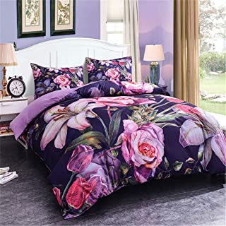 Zeimon 3D Floral Duvet Cover Sets Flower Microfiber Pillowcase Bedding Sets for All Season (Style 37,Queen)