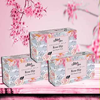 Mirah Belle Coconut Milk, Rose-Hip Soap (Pack of 3-125 gm) - For Dry and Rough Skin - Moisturising and Smoothening - Handm...