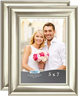 Icona Bay 5x7 Picture Frame (2 Pack, Champagne), Champagne Photo Frame 5 x 7, Wall Mount or Table Top, Set of 2 Elegante Collection