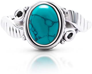 Synthetic Turquoise Feather Sides Ring 925 Sterling Silver Vintage Tribal Gipsy Boho US Size 6 7 8 9