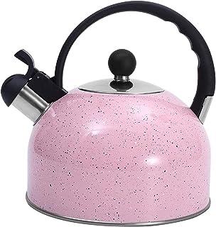 Whistling Kettle Tea Kettle, Whistling Stainless Steel Teakettle for All Stovetop Tea, Thin Base, 2.5Liters Prink (Color :...