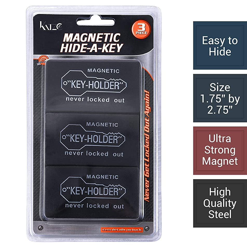 """Magnetic Hide a Key Holder - Fits 2.75"""" Inches Long Keys, Extra Super Strong Magnet, Good for Extra Spare Car Key, House Key, Warehouse Key, 100% Safe Compartment, (Pack of 3pc) - By Katzco"""