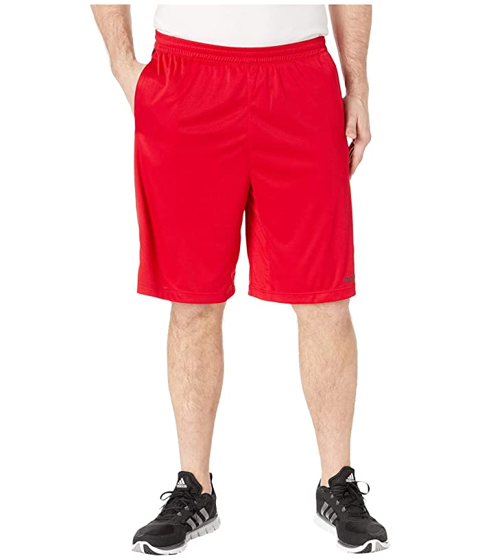 adidas Big Tall D2M 3-Stripe Shorts (Scarlet/Black) Men