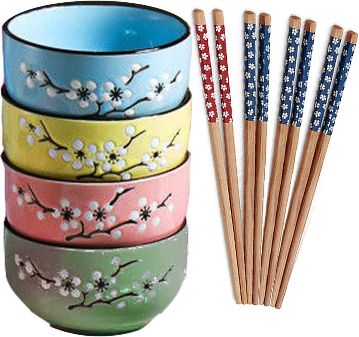 Fadaar Juego de 4 Multicolor Cuencos de cerámica, Cuencos de Cereales en Porcelana con 4 x par de Palillos para Desayuno Sopa Cereales Pasta Aperitivo (Rosa)