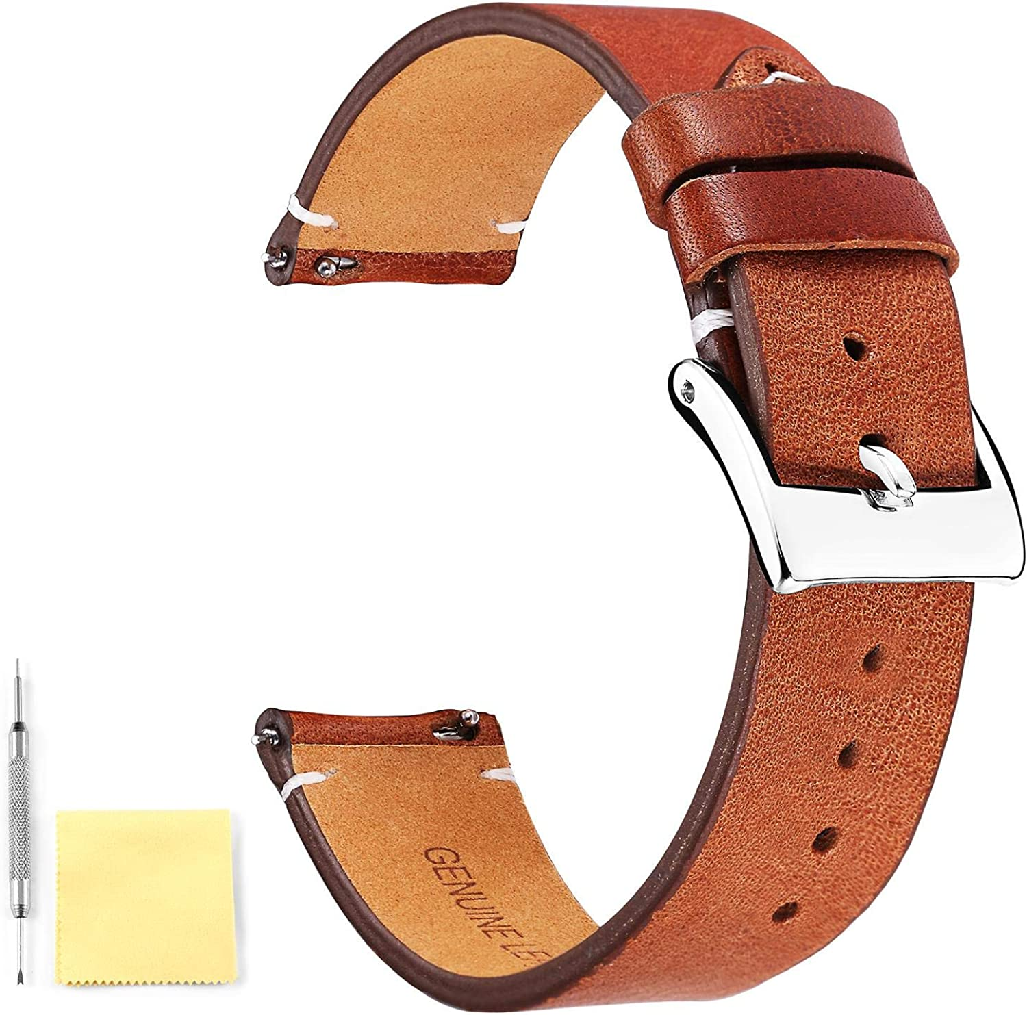 BINLUN Genuine Los Angeles Mall Max 45% OFF Leather Watch Straps Quick Release