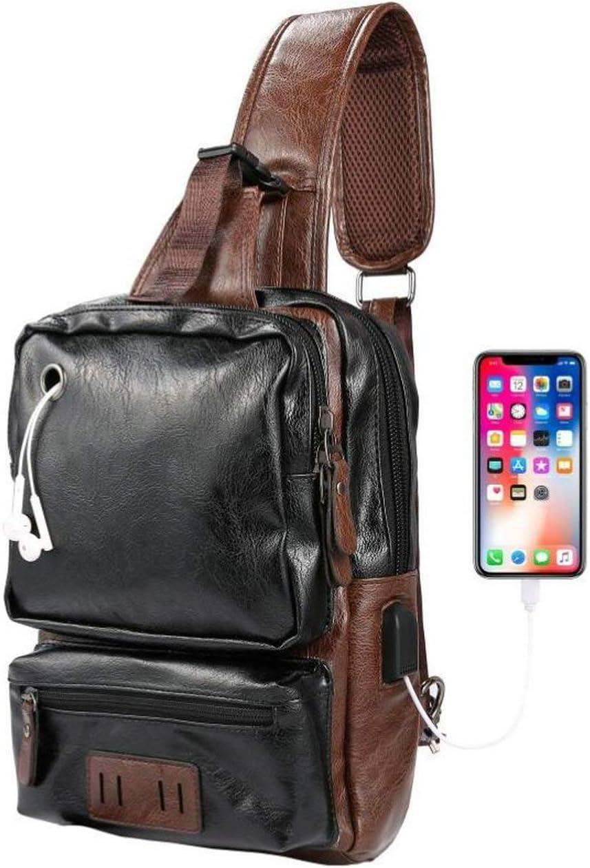 Men's Sling Bag, Crossbody PU Leather Shoulder Backpack with USB Charging Port, Vintage Chest Bag for Men(Black)