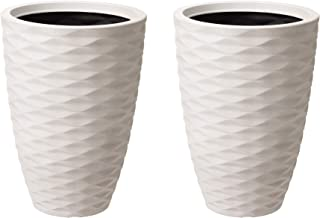 Glitzhome GH20295 Eco-Friendly Oversized Planters – Modern Decor Faux Porcelain Tall Round Indoor or Outdoor Planting Pots...