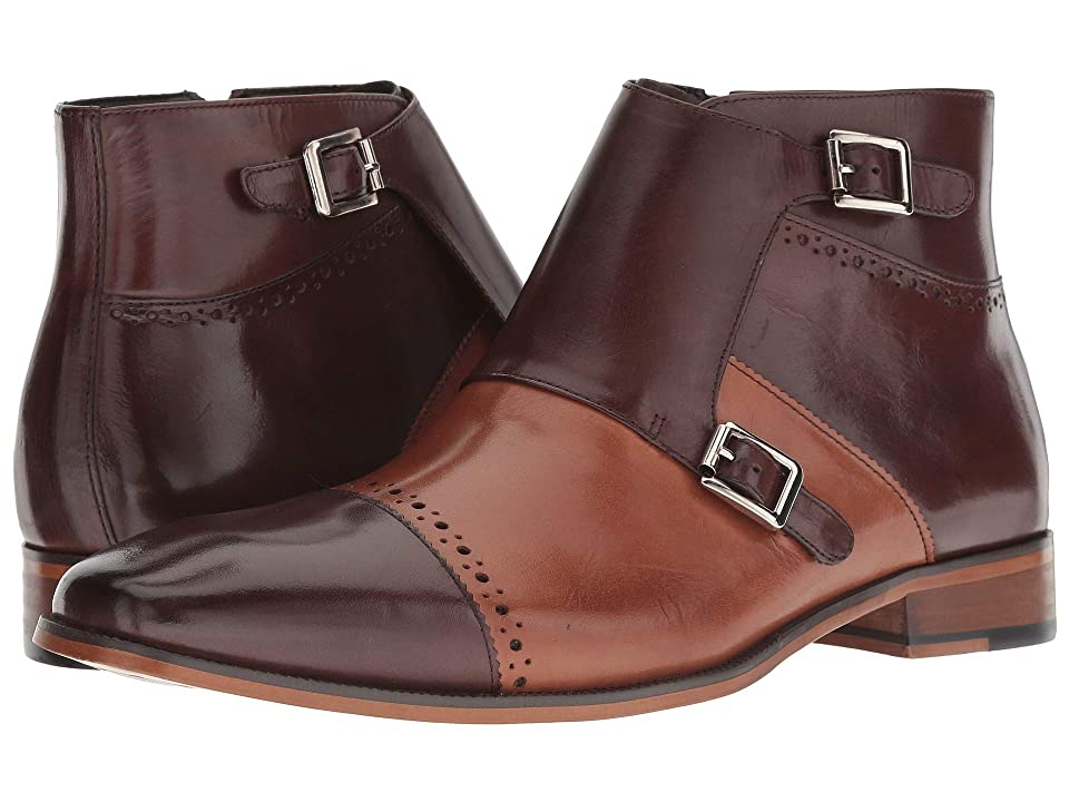 Stacy Adams Kason Cap Toe Double Monkstrap Boot (Brown/Saddle Tan) Men