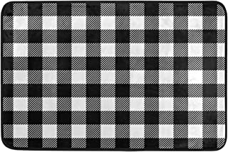 Checkered Plaid Doormat Non Slip Washable Buffalo Black White Plaid Welcome Indoor Outdoor Entrance Bathroom Floor Mats Christmas Home Decor, 23.6 x 15.7 inch