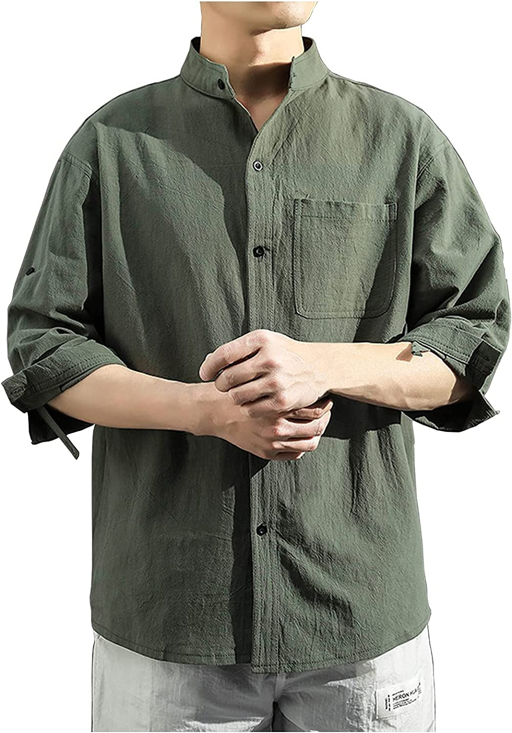 WoCoo Mens Cotton Linen Shirt Half Sleeve Stand-up Collar Button-Down Tops Casual Solid Pocket Blouse Slim Fit Top