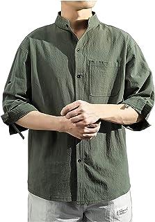 LADYSHOP الرجال القميص بلايز نصف كم بلايز بلون طية صدر السترة قميص عصري عارضة تي شيرت
