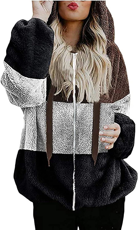 Zip Up Sweatshirt Women Lightweight Winter Trendy Plain Patchwork Short Coats Long Sleeve Loose Fit Fleece Hoodies Top