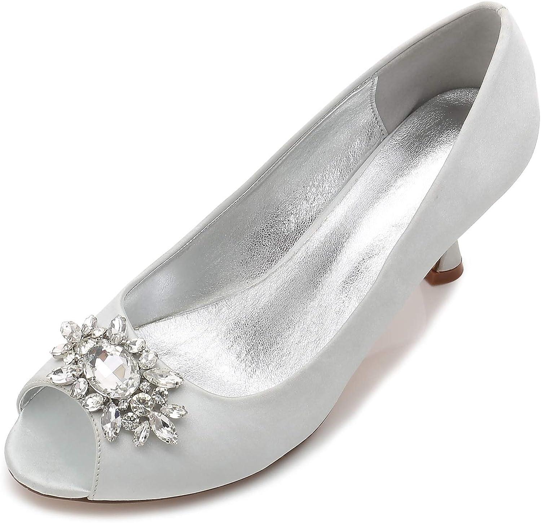 Elobaby Frauen Hochzeit Schuhe Schuhe Schuhe Braut Peep Toe Sommer Blaumen Kleid Sandalen Satin (7cm Heel)  1d92d7
