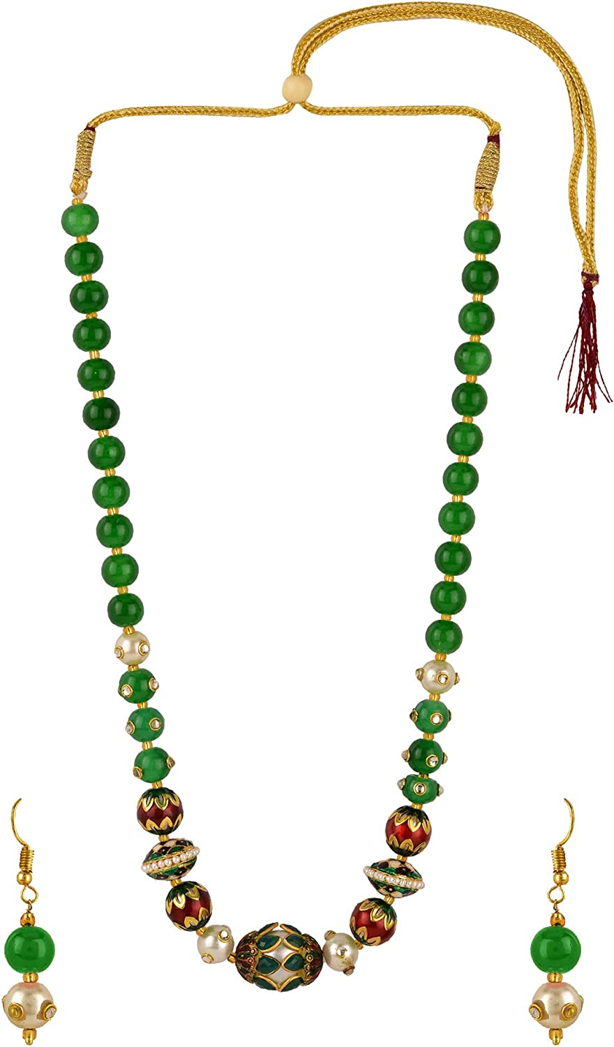 Efulgenz Boho Indian Bollywood Antique Gold Plated Faux Pearl Beaded Bridal Wedding Strand Statement Necklace Earrings Jewelry Set