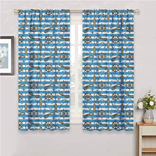 Nautical Curtain Living Room Sailor Uniform Stripes Backdrop Cruise Regatta Tourism Classic Illustration Curtains for bedroo Brown Blue White 72 x 72 inch