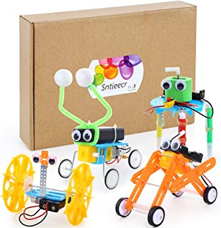 Sntieecr 4 Set Robotic Science Kits, Electric DC Motor Assembly Kit for Kids DIY STEM, Science Experiments, WormRobot, BalanceCar Robot, Reptile Robot and DoodleRobot