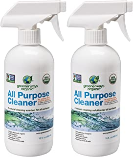 Greenerways Organic All-Purpose Cleaner, Natural, USDA Organic, Non-GMO, Best Household Multi Surface Spray Cleaner for Home, Glass, Kitchen, Bathroom, Shower, Window (2 Pack)