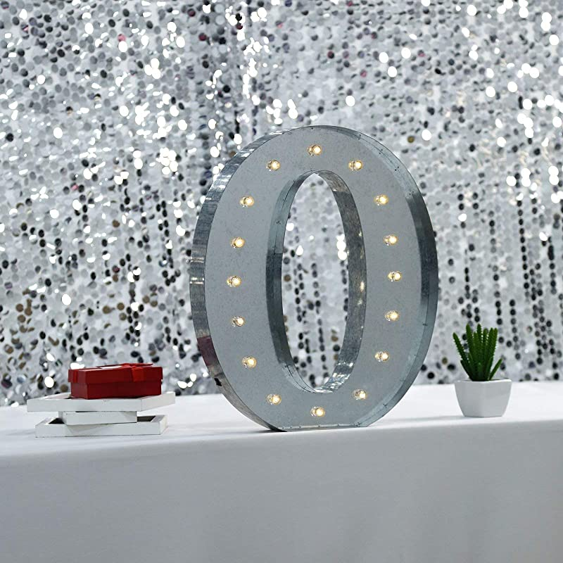 Tableclothsfactory 2 FT Vintage Metal Marquee Number Lights Cordless With 16 Warm White LED 0