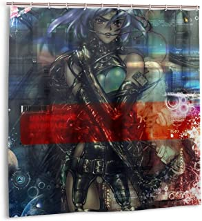 SHANGQINGYUN Ghost in The Shell-Motoko Kusanagi Anime/Cartoon/Gaming Shower Curtain (72 X 72 Inch) Waterproof Polyester Fabric Shower Curtain for Bathroom Showers and Bathtubs with Plastic Hooks