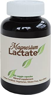 Sponsored Ad - Magnesium Lactate 500 mg per Serving, 120 Easy to Swallow Small Vegetarian Capsules. Gluten Free. Doctor fo...