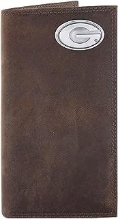 NCAA Georgia Bulldogs Light Brown Crazyhorse Leather Roper Concho Wallet, One Size