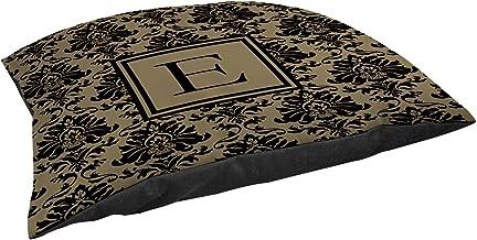 وسادة أريكة مربعة الشكل من Manual Woodworkers & Weavers مقاس 35.56 سم، حرف E، باللون الأسود والذهبي الدمشقي
