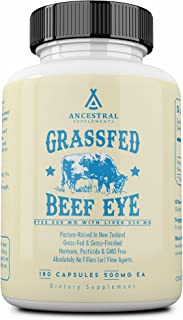 Ancestral Supplements Grass Fed Beef Eye (w/Liver) - Supports Eye, Retina, Macula, Lens and Overall Ocular Health (180 Cap...