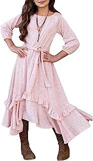 MITILLY Girls Loose Plain 3/4 Sleeve Casual Pocket Ruffle Swing Long Maxi Dress with Belt